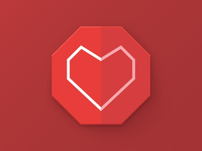 Heart polygon icon heart icon flat simple simplicity clean polygon badge logo red concept
