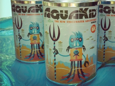 AquaKid painting alien robots design cartoon illustration