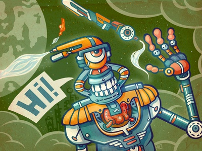 Hi Bot cartoon alien illustration robotic robots