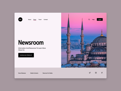 Press Page newsroom travel travelling press page web concept design dailyui ui