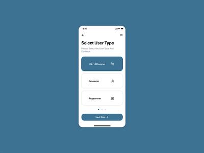 Select User Type 064 select user type mobile concept design app dailyui ui