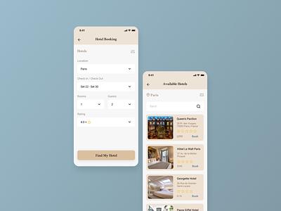 Hotel Booking hotel paris travel mobile 067 hotel booking concept design app dailyui ui