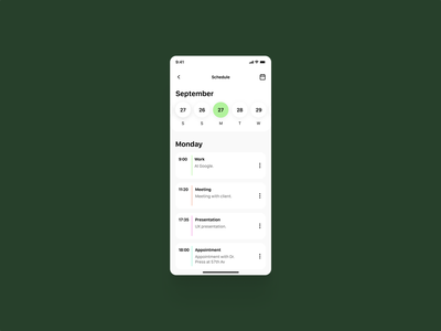 Schedule 071 calendar schedule mobile concept design app dailyui ui