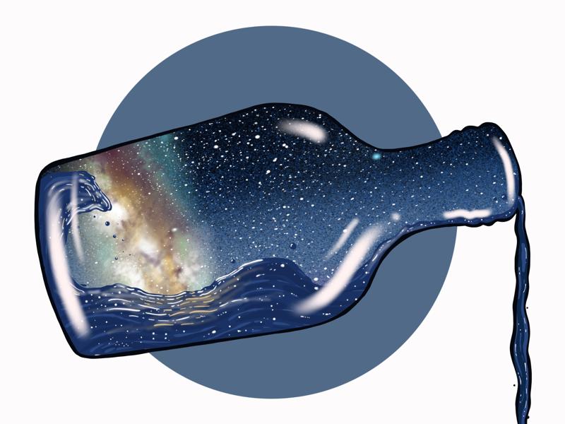 Milky Way in a Bottle surrealism ipad pro procreate illustration sketch design graphic design digital art astronomy milky way