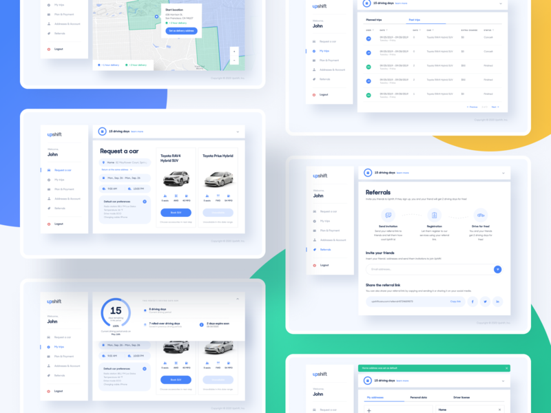 Upshift - Preview ios app mobile blue map chart cars dashboard user visual components interface design system experience ux ui product design product web design