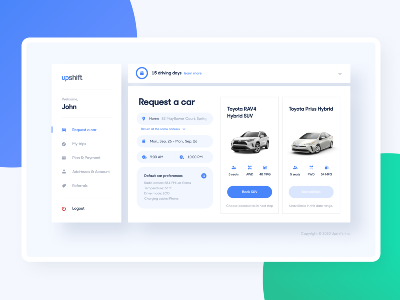 Upshift - Car request booking inputs driving visual blue app desktop design system components cars dashboard interface user experience ux ui product design product web design