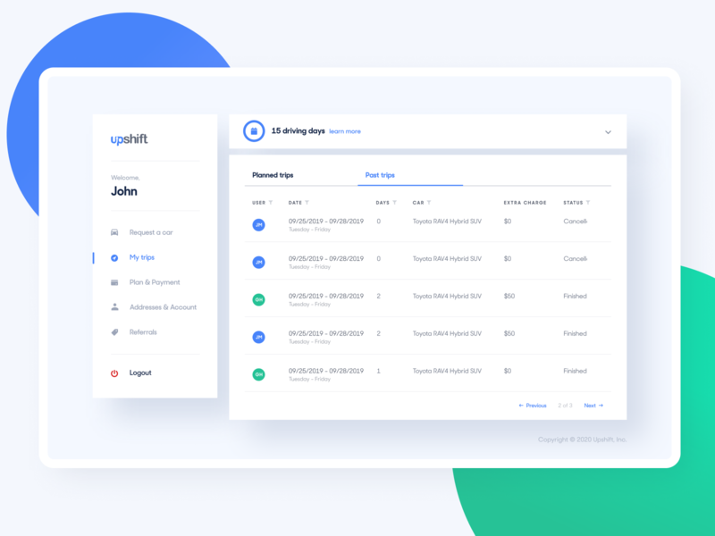 Upshift - My trips design system components white blue table cars web product design experience visual user app desktop dashboard product uidesign interface design ui ux