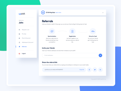 Upshift - Referrals and Plan referral cars blue dashboard product experience design system components app design desktop web interface user visual ui ux