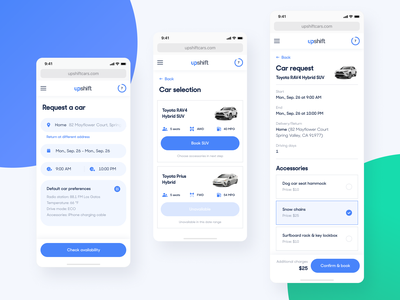 Upshift - Mobile Web request blue visual product design system app ios experience interface components booking cars design dashboard user experience user mobile web ui ux
