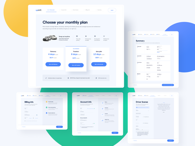 Upshift - Signup flow design system visual journey signup form inputs summary driver billing account cars flow signup design experience interface user app web ui ux