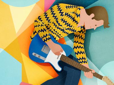 John M rock colourful abstract guitar fender telecaster john m