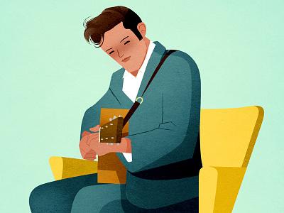 the king illustration guitar theking elvis