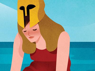 Britannia helmet sea woman editorial illustration