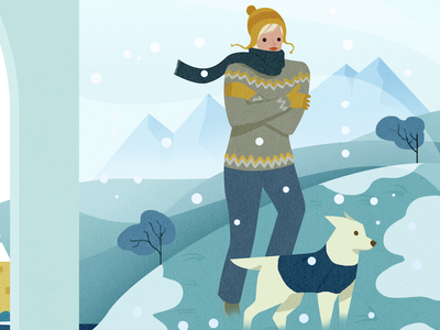 Winter nature woman dog winter cold