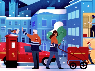 Royal Mail post street scene winter christmas royal mail
