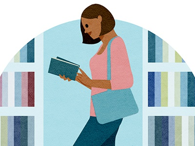 Library reading woman books illustration