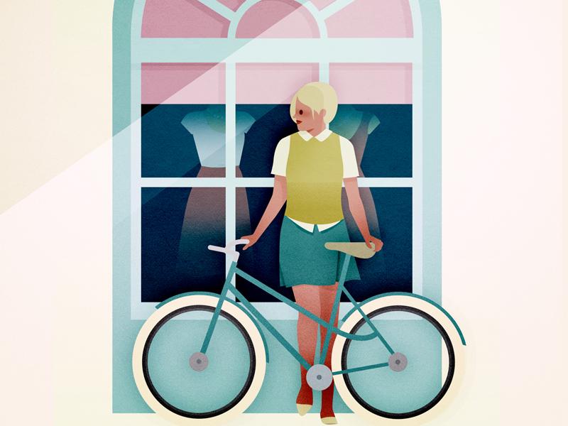 Velo illustration summer shop shopping veto bike woman