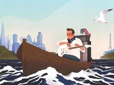 Darwin Poster guitar fender rock boat sea illustration landscape band poster
