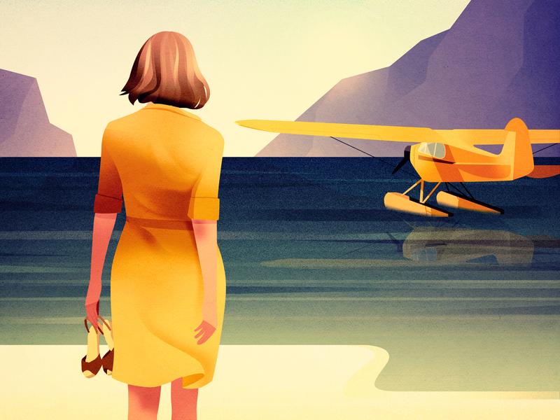 Seaplane - Personal work yellow mountains plane woman sea landscape