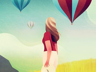 Balloons - Personal work hot air ballon illustrations travel summer woman landscape ballons montgolfier