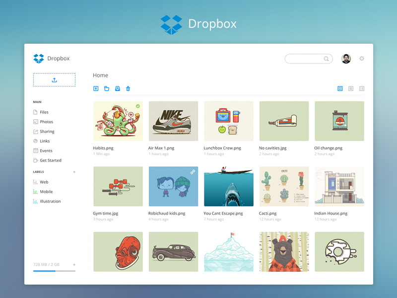 Dropbox dashboard store ui redesign dropbox dashboard web share upload flat simple chennai india