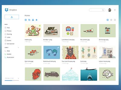 Dropbox dashboard store ui redesign dropbox dashboard web share upload flat simple