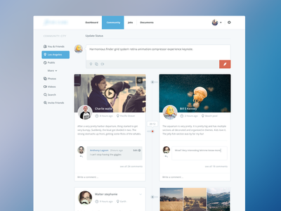 Community webpage ui web website webpage simple user interface flat social jobs dashboard