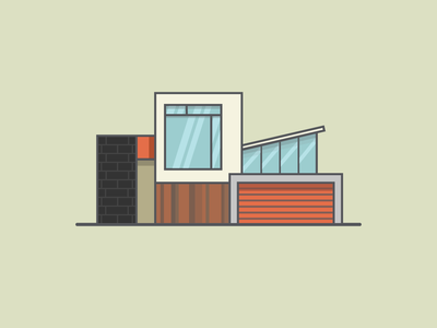 House - 3 bricks home building architecture modern window door vector graphic design illustration house