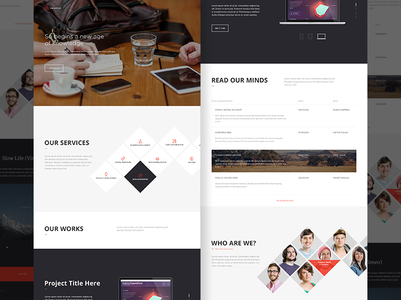Free Psd - Office Landing Page  india ui interface navigation homepage landing page ux background image free psd full screen office portfolio chennai