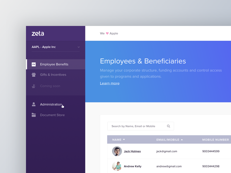 Zeta Hr Dashboard dashboard zeta ux stats product message icons graph feed chart admin activity