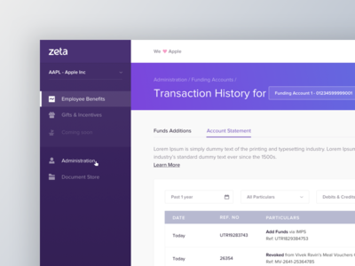 Zeta Hr Dashboard - Transaction
