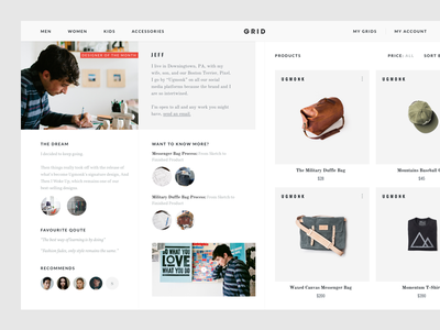 Grid - Designer of the Month (Concept Project) website web view grid ui store shop product interaction fashion experience ecommerce