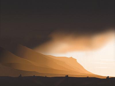 Sunset in the Valley valley sunset scene mountain illustration sketchapp