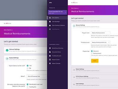 Zeta Optima - Program Rules & Settings rules settings activity dashboard ui ux product website web