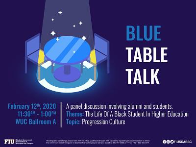 Blue Table Talk Part 2 illustrator spotlight chairs glow white sparkles brown yellow art isometric talk table blue
