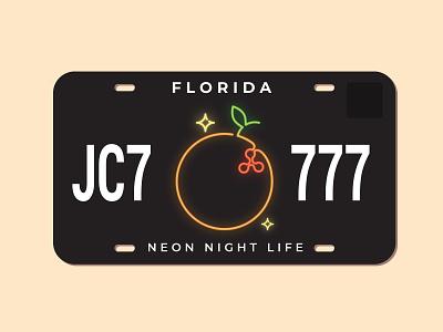 Florida License Plate (Night Life Version) plate license fruit sparkles miami light green white yellow life night florida sign neon
