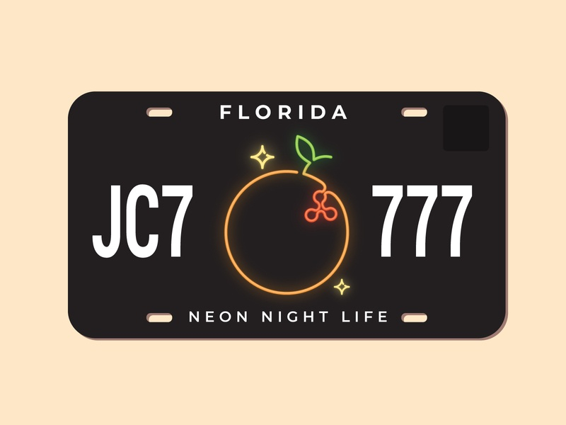 Florida License Plate (Night Life Version)