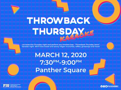 Throwback Thursday Karaoke (VHS Effect) thursday throwback lines triangle circle grid blue and white pink yellow red blue gradient karaoke memphis retro 90 90s vhs