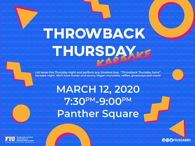 Throwback Thursday Karaoke gradient lines circles karaoke retro grid memphis thursday throwback 90 90s triangle circle red yellow blue white