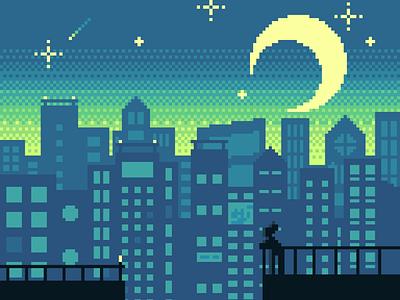 Night Lights dotpict sky sparkle stars city moon lights light night pixelart art pixel