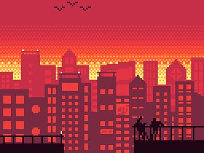 Day Break sunrise dotpict sky orange yellow red city birds break day pixelart art pixel