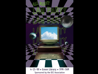 90's/00's College Lan Party Poster Design college poster aesthetic green blue neon balls metal computer sky night all 1990s 2000s 90s board checkered party lan dccrog