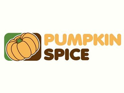 Pumpkin Spice Logo adobe illustrator digital design graphic latte yellow green brown orange autumn fall logo coffee spice pumpkin