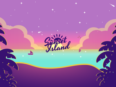 Sunset Island YouTube Banner blue illustrator gradient purple yellow sun water ocean clouds bushes trees starship shooting stars sparkles boat beach dolphins island sunset