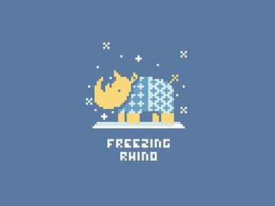 Freezing Rhino art pixel rhinoceros blue snowing yellow winter sweater snow freezing rhino