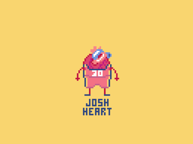 NBA Alter Egos: Josh Hart realistic white blue yellow red pixelart art pixel heart new orleans pelicans josh hart josh heart ego alter nba