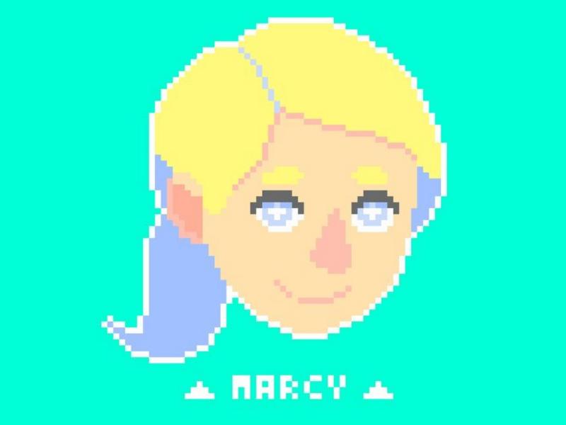 Pixel Portrait: Marcy Alstrom art pixel art yellow blue aqua portrait pixel alstrom marcy