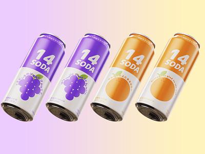 14 (ジューシー) Soda white purple grapefruit puns ジューシー grape orange aluminium can mockup soda japanese