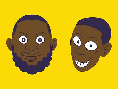 LeBron James & Rajon Rondo (Fujiko F. Fujio Style) fujiko f. fujio purple yellow laker rondo  anime rajon james lebron f. fujiko