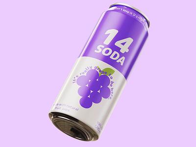 Grape 14 (ジューシー) Soda fruit green purple white graphic design ジューシー nihongo japanese photoshop illustrator mockup soda 14 grape